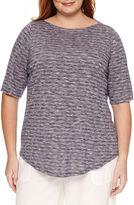 Liz Claiborne Elbow Sleeve Boat Neck T-Shirt-Plus