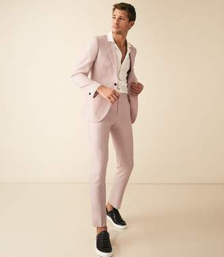 Reiss Melody - Wool Silk Blend Slim Fit Blazer in Soft Pink