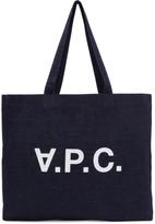 A.P.C. Indigo Denim Logo Tote