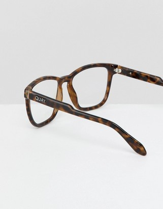 Quay Hardwire clear lens glasses in tort with blue light blocker