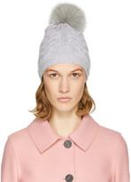 Yves Salomon Grey Cable Knit Fur Pom Pom Beanie