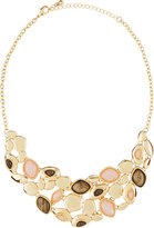 Fragments for Neiman Marcus Rose Quartz & Gray Stone Statement Bib Necklace, Gold