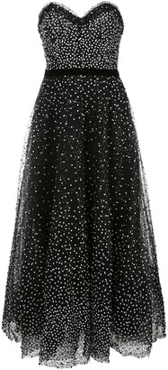 Marchesa Strapless Sequin Evening Dress