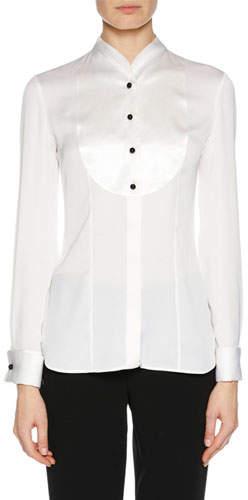 Giorgio Armani Long-Sleeve Button-Placket Silk Satin Tuxedo Blouse