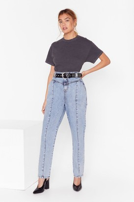 Nasty Gal Womens High-Waisted Denim Jeans with Seam Detailing - Vintage Blue
