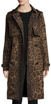 Jane Post Double-Breasted Leopard-Print Midi Trenchcoat, Brown