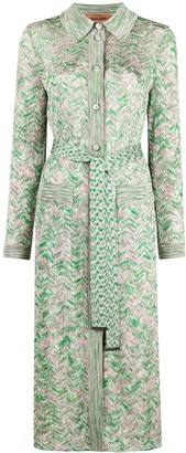 Missoni Zig-Zag Knit Long Cardigan Coat