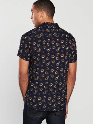 Very Short Sleeved Floral Print Shirt