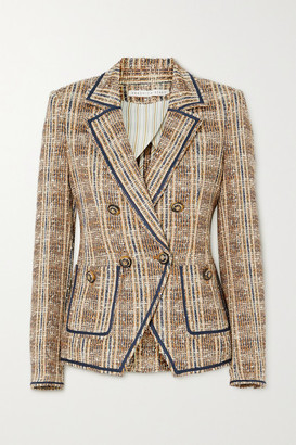Veronica Beard Theron Double-breasted Checked Tweed Blazer - Brown