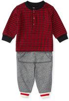 Ralph Lauren Houndstooth Pullover Sweatshirt w/ Track Pants, Red, Size 9-24 Months