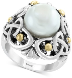 Effy Cultured Freshwater Pearl (11mm) Statement Ring in Sterling Silver & 18k Gold Over Silver