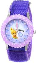 Disney Kids' W000275 Glitz Tinker Bell Stainless Steel Time Teacher Purple Bezel Purple Velcro Strap Watch