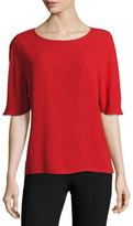 Michael Kors Short-Sleeve Silk Cape Blouse, Crimson