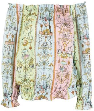 Versace Jeans Couture Motif-Print Off-Shoulder Blouse