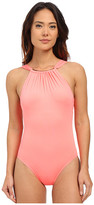 Vince Camuto Polish High Neck Maillot w/ Removable Soft Cups