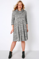 Yours Clothing Grey Space Dye Swing Dress With Cowl Neck