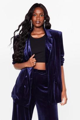 Nasty Gal Womens Can You Feel It Plus Velvet Blazer - Navy - 22