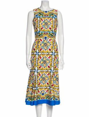 Dolce & Gabbana Printed Midi Length Dress White