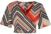 River Island Womens Orange Aztec print wrap crop top