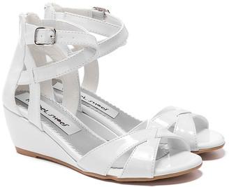 Rachel Girls' Sandals WHT - White Patent Crisscross Wedge Sandra Sandal - Girls