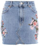 Topshop Moto denim floral skirt