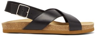 A.P.C. Tiagos Leather Sandals - Mens - Black
