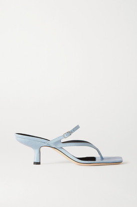 BY FAR Desiree Lizard-effect Leather Sandals - Sky blue