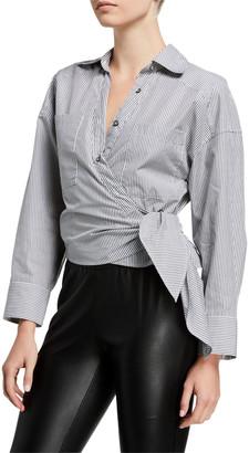 IRO Kensing Striped Wrap-Front Shirt