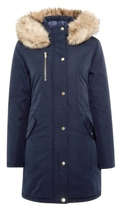 Dorothy Perkins Womens Navy Luxe Faux Fur Parka Jacket, Navy
