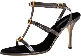 Roberto Cavalli Metallic Grey Leather Crystal Embellished Strappy Sandals Size 41