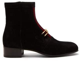 Gucci Lubbock Gg Horsebit Suede Boots - Mens - Black