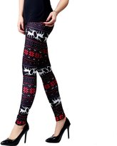 Ensasa Womens Autumn Winter Snowflake Graphic Printed Stretchy Leggings Pants