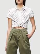 Frame Denim Shrunken Short Sleeve Off White Multi