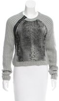 Reed Krakoff Fur-Paneled Leather-Trimmed Sweater