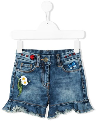 MonnaLisa Floral Embellished Denim Shorts