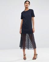 Asos Maxi Scuba Dress with Lace Pep Hem