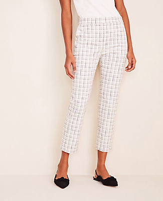 Ann Taylor The Petite High Waist Ankle Pant in Plaid Tweed