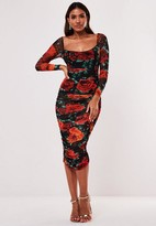 Missguided Black Floral Mesh Ruched Long Sleeve Midi Dress
