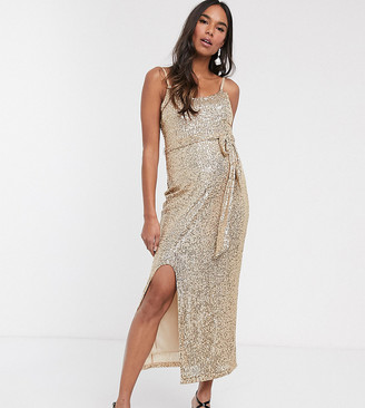Queen Bee Maternity sequin cami strap midaxi dress in gold