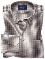 Charles Tyrwhitt Slim Fit Button-Down Non-Iron Poplin Gold and Blue Gingham Cotton Casual Shirt Single Cuff Size Large