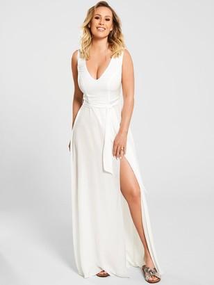 Kate Wright Sheer Textured Beach Plunge Maxi Dress- White