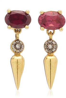 Sarah Hendler Shirley 18K Yellow Gold Rhodolite Diamond Earrings