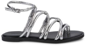 Rebecca Minkoff Sarle Metallic-Strap Sandal Flats