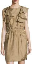 See by Chloe Ruffled Sleeveless Silk Dress, Taupe