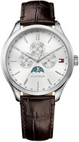 Tommy Hilfiger Men's Sport Lux Brown Embossed Leather Strap Watch 42mm 1791304