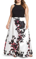 Xscape Evenings Print Skirt Ballgown (Plus Size)
