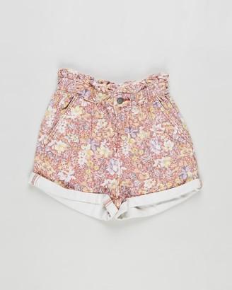 Cotton On Girl's Pink Denim - Peta Paperbag Shorts - Kids-Teens - Size 3 YRS at The Iconic