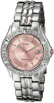 GUESS Women's G75791M Sporty Silver-Tone Watch with Pink DialCrystal-Accented Bezel and Stainless Steel Deployment Buckle