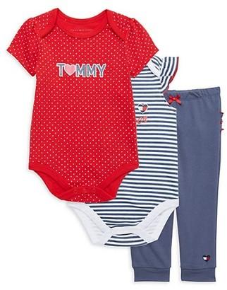 Tommy Hilfiger Baby Girl's 3-Piece Striped & Dot-Print Bodysuit & Pants Set