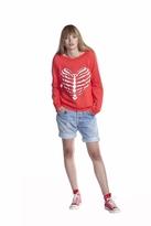 Wildfox Couture Skeleton Heart Gidget Sweatshirt in Free Love Red